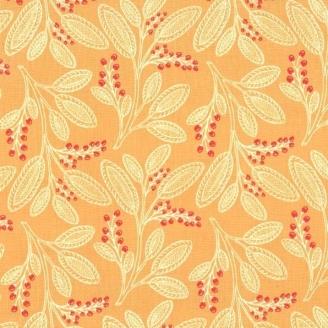 Tissu patchwork baies et feuillages fond orange caramel - Abloom