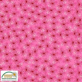 Tissu patchwork floraison rouge et blanche fond rose - Blooming Garden