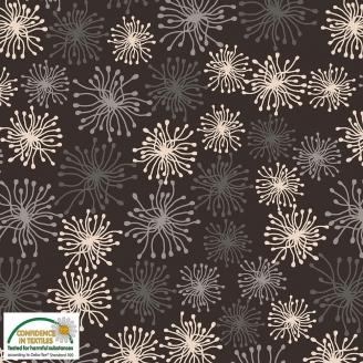 Tissu patchwork fleur-pompom gris fond noir - Blooming Garden