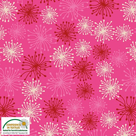 Tissu patchwork fleur-pompom rouge et écru fond rose - Blooming Garden