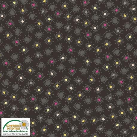 Tissu patchwork pollen jaune et rose fond noir - Blooming Garden
