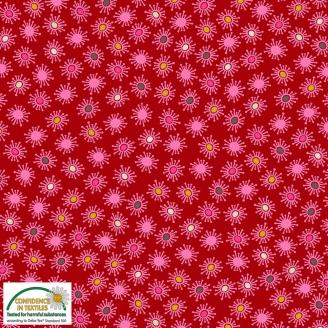 Tissu patchwork pollen noir et rose fond rouge - Blooming Garden