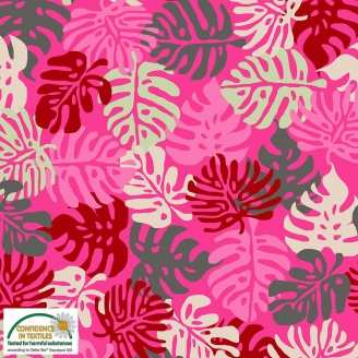 Tissu patchwork feuilles tropicales fond rose - Blooming Garden