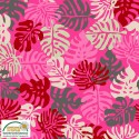 Tissu patchwork feuilles tropicales fond rose - Blooming Garden