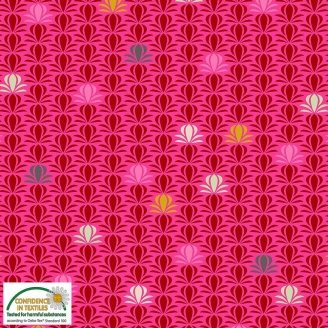 Tissu patchwork fleur tropicale rouge fond rose - Blooming Garden