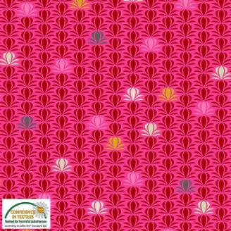 Tissu patchwork fleur tropicale rouge fond rose - Blooming Garden