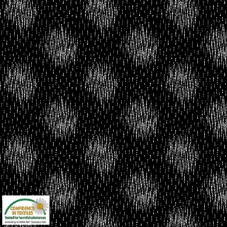 Tissu patchwork ronds brouillés fond noir - Blooming Garden