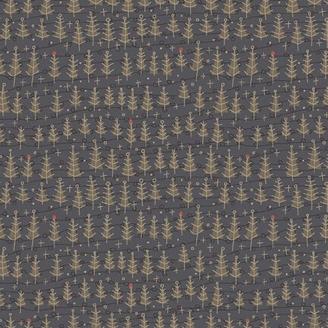Tissu de Noël petits sapins fond gris bleu - Winter Wonderland