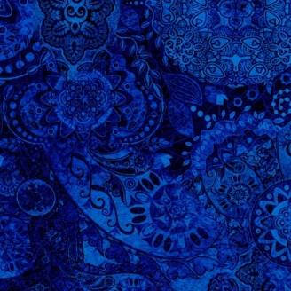 Tissu patchwork faux-uni Mandala bleu après minuit - Bohemian Rhapsody