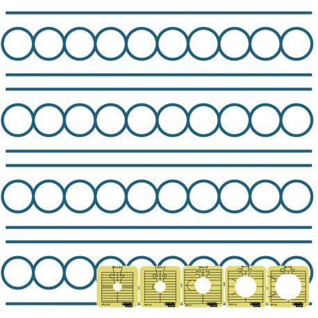 Set de 5 cercles entre les lignes - Règles à quilter Westalee