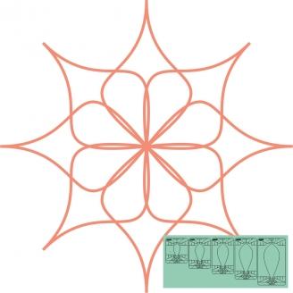 "Fleur n°12 (Spin e fex) 7,5"" - Règle à quilter Westalee"