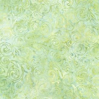 Tissu Batik tourbillons vert clair ton sur ton