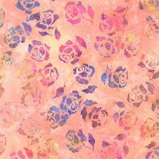 Tissu Batik roses fond pêche