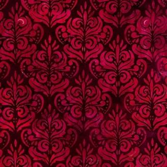 Tissu Batik fleur baroque fuchsia fond prune
