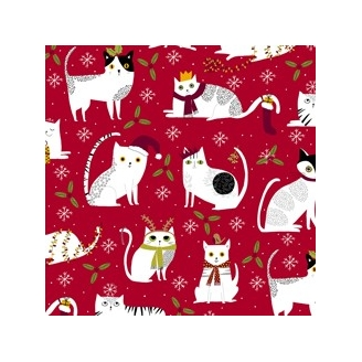 Tissu patchwork Noël chats blancs fond rouge - Meowy Christmas