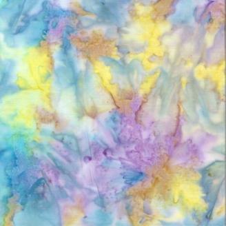 Tissu Batik marbré citron / cyan / violet - Autentiks Batiks