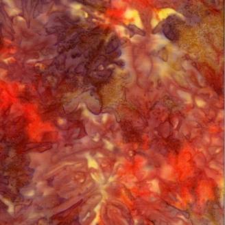 Tissu Batik marbré rouge / jaune / brun - Autentiks Batiks