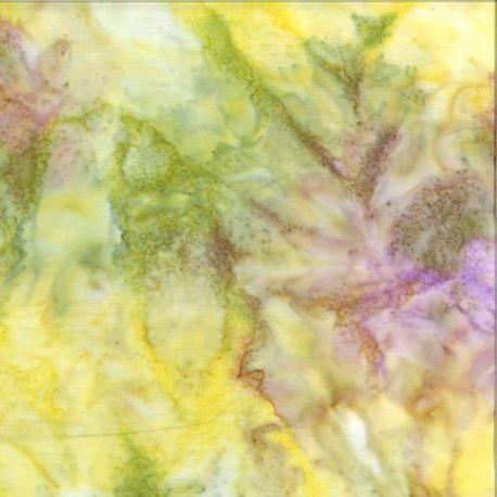 Tissu Batik marbré vert tendre / lilas - Autentiks Batiks