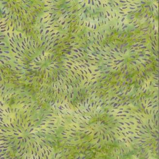 Tissu Batik feux d'artifice vert tendre / lilas  - Autentiks Batiks
