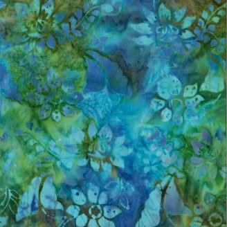Tissu Batik fleurs bleues fond vert - Autentiks Batiks