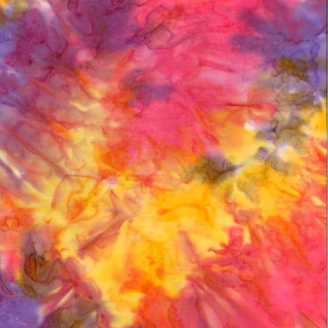 Tissu Batik marbré jaune / fuchsia / violet - Autentiks Batiks