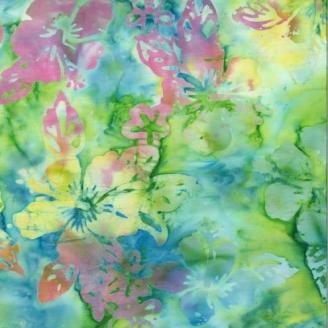 Tissu Batik hibiscus multico fond vert lime - Autentiks Batiks