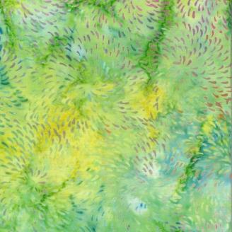 Tissu Batik feux d'artifice fond vert lime  - Autentiks Batiks