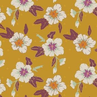 Tissu patchwork fleurs blanches fond miel - Autumn Vibes