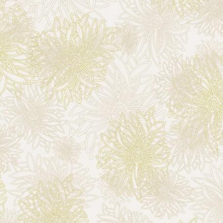 Tissu patchwork dahlia fond blanc Winter Wheat - Floral Elements