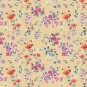 Tissu patchwork fleurs rose et orange fond crème - Boho fusion