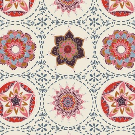 Tissu patchwork Mandala rouge fond écru - Trinkets Fusion