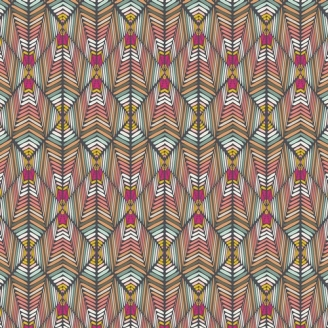 Tissu patchwork motif géométrique corail et rose - Indie Bohème