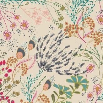 Tissu patchwork prairie fleurie fond écru - Indie Folk