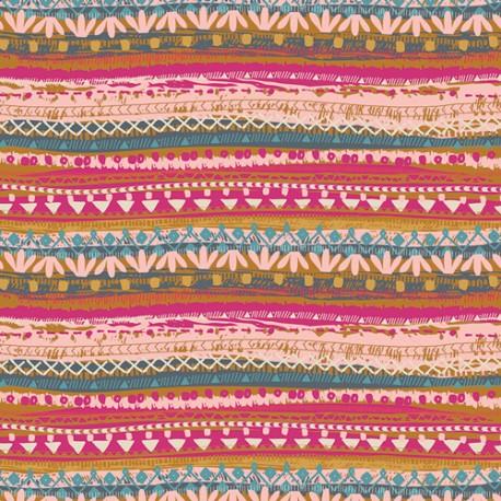 Tissu patchwork rayures fleuries fuchsia rose ocre - Indie Folk