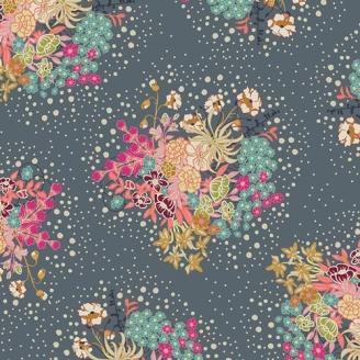 Tissu patchwork bouquet de fleurs fond gris - Indie Folk