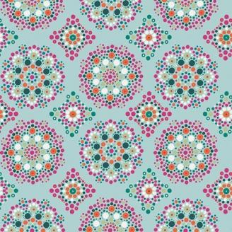 Tissu patchwork Mandala en pointillisme fond bleu clair - Loved to pieces
