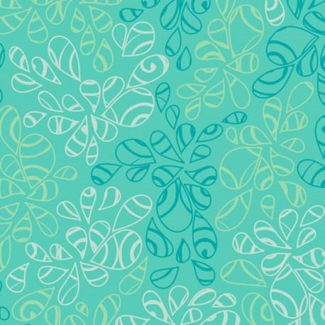 Tissu patchwork feuilles ton sur ton bleu Caribéen - Nature Elements