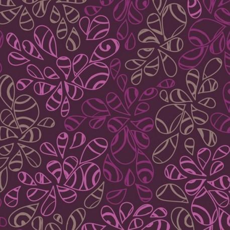 Tissu patchwork feuilles ton sur ton prune - Nature Elements