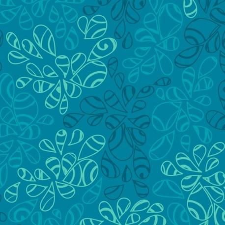 Tissu patchwork feuilles ton sur ton bleu eau de mer - Nature Elements
