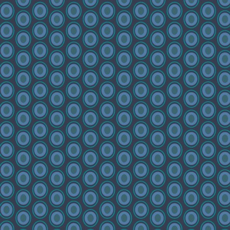 Tissu patchwork ovales indigo - Oval Elements