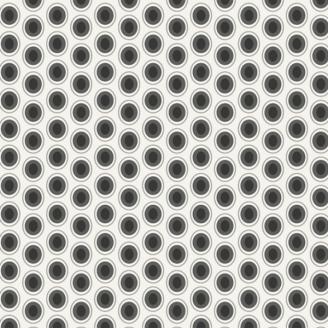 Tissu patchwork ovales noirs fond blanc Cookie N Cream - Oval Elements