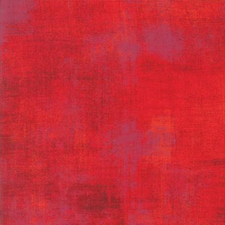 Tissu patchwork faux-uni patiné rouge flamboyant - Grunge de Moda