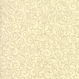 Tissu de Noël volutes dorées fond crème - Cardinal song Metallic de Moda