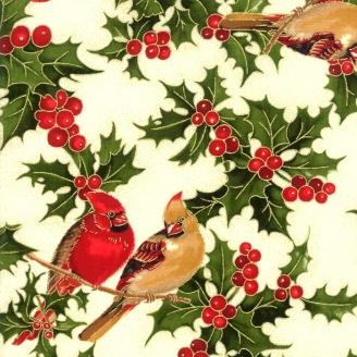 Tissu de Noël oiseau cardinal fond écru - Cardinal song Metallic de Moda