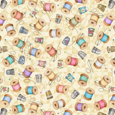 Tissu patchwork dés à coudre et bobines fond crème - Tailor Made