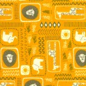 Tissu patchwork éléphants fond moutarde - Safari life de Moda