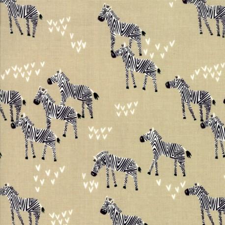 Tissu patchwork zèbres fond beige - Safari life de Moda