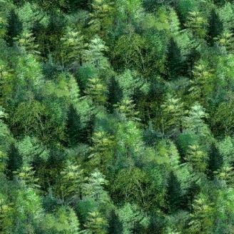 Tissu patchwork imitation forêt printanière