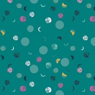 Tissu patchwork lunes fond vert canard - Lugu