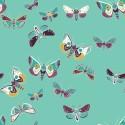 Tissu patchwork papillons de nuit fond vert opaline - Lugu